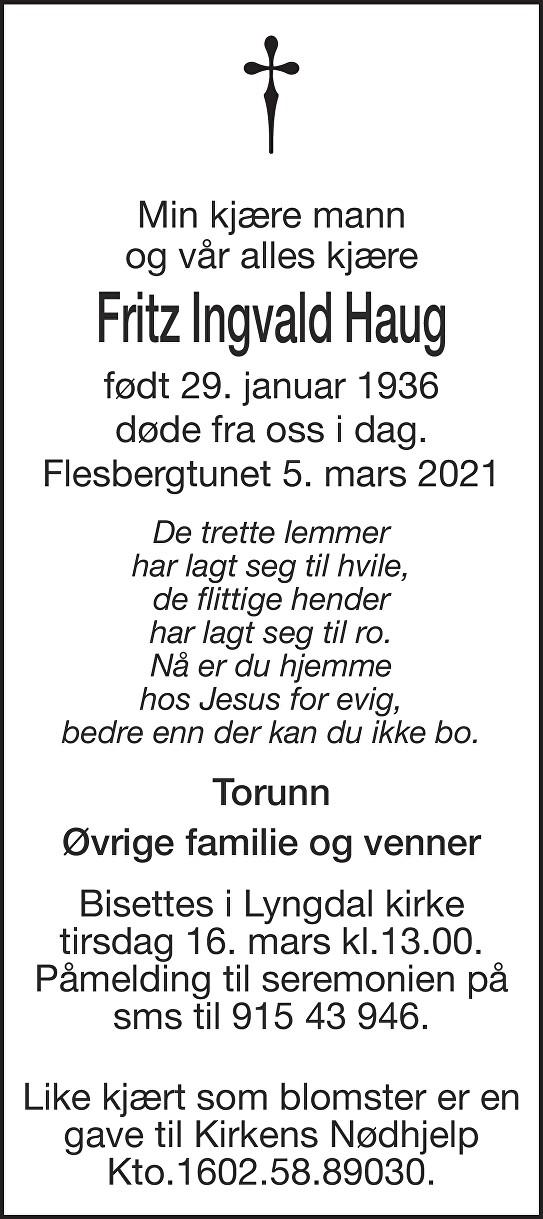 Fritz Ingvald Haug Dødsannonse