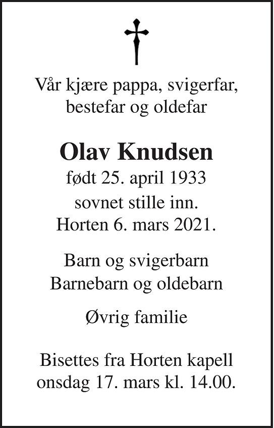 Olav Knudsen Dødsannonse