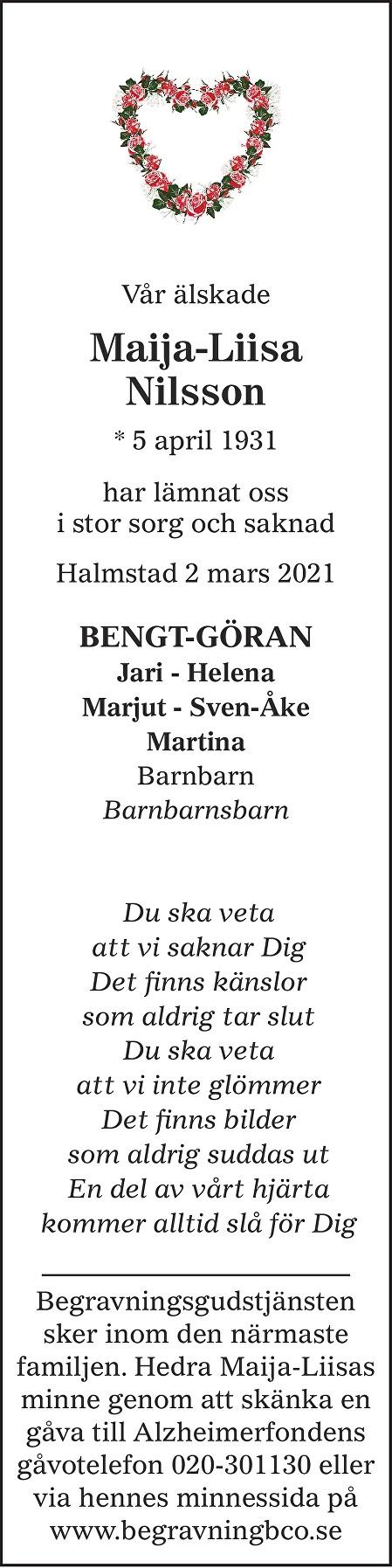 Maija-Liisa Nilsson Death notice