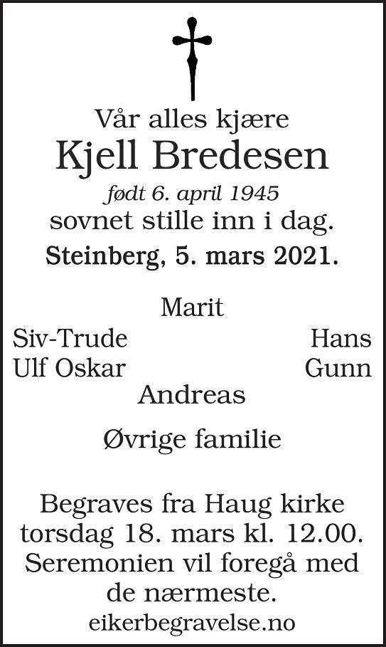 Kjell Bredesen Dødsannonse
