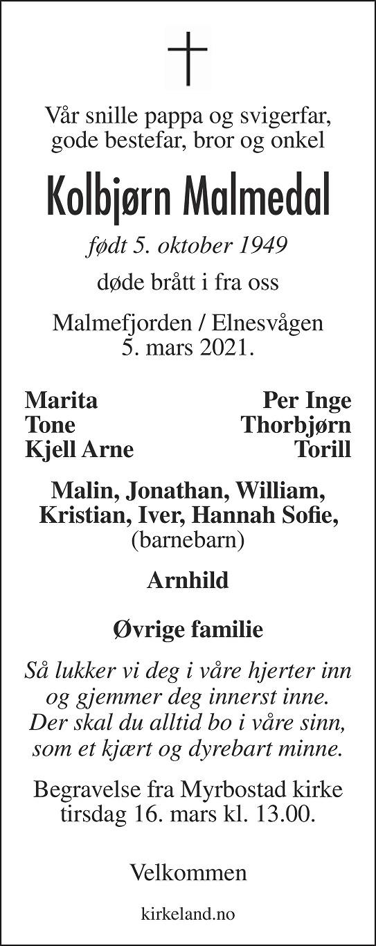 Kolbjørn  Malmedal Dødsannonse