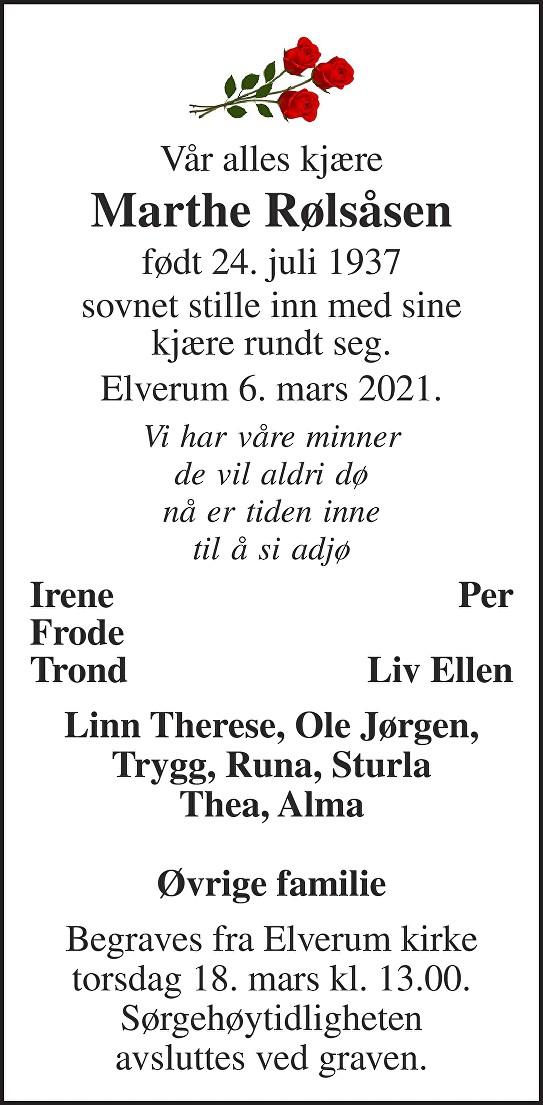 Marthe Rølsåsen Dødsannonse