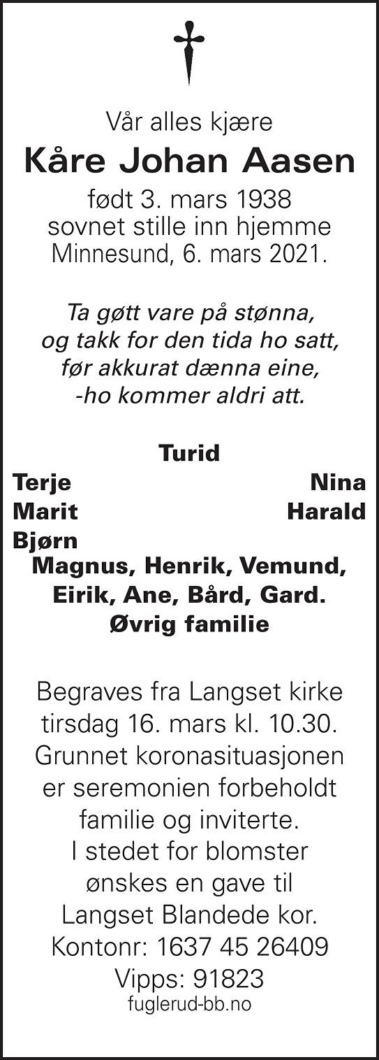 Kåre Johan Aasen Dødsannonse