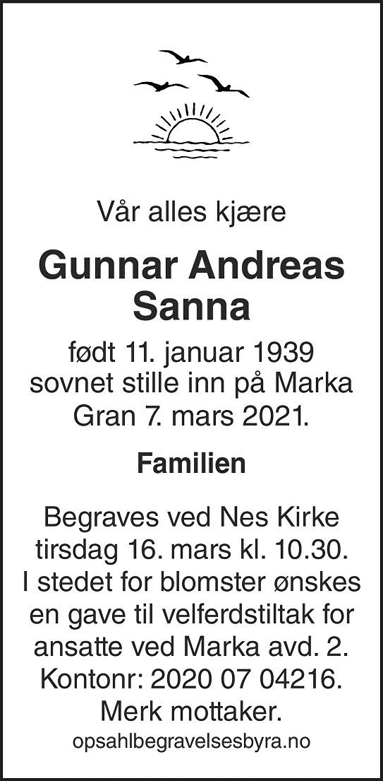 Gunnar Andreas Sanna Dødsannonse