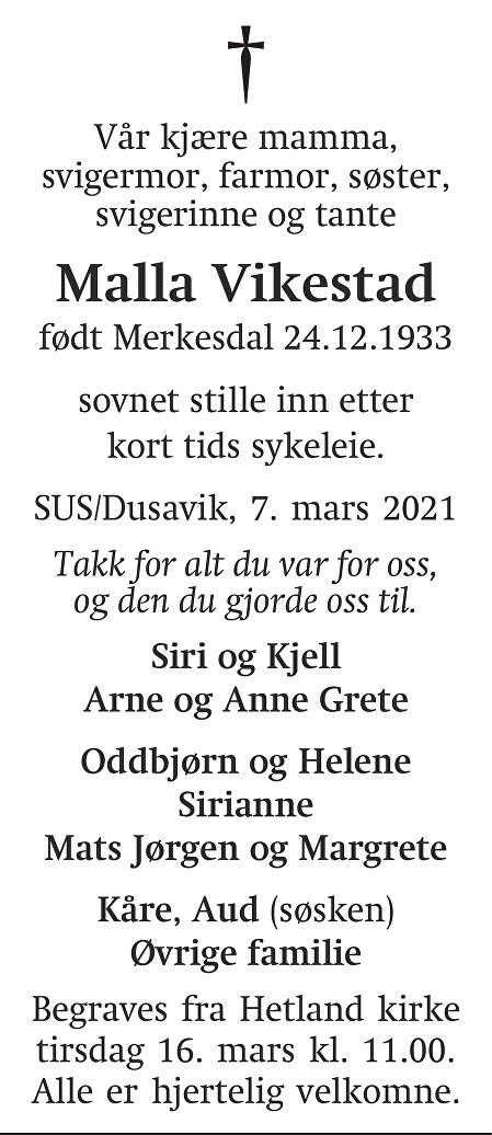 Malene Johanne Karoline Vikestad Dødsannonse