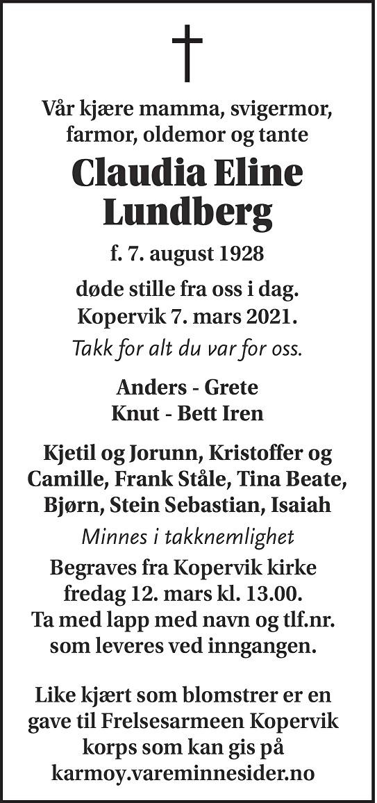Claudia Eline Lundberg Dødsannonse