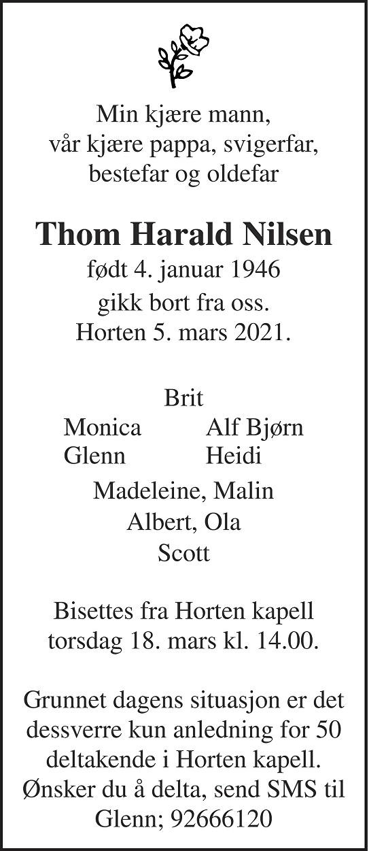 Thom Harald Nilsen Dødsannonse