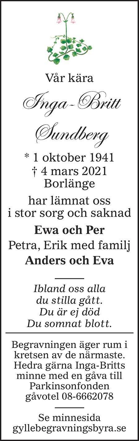 Inga-Britt Sundberg Death notice