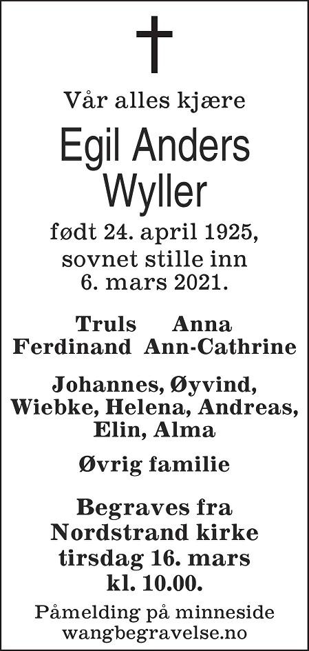 Egil Anders Wyller Dødsannonse