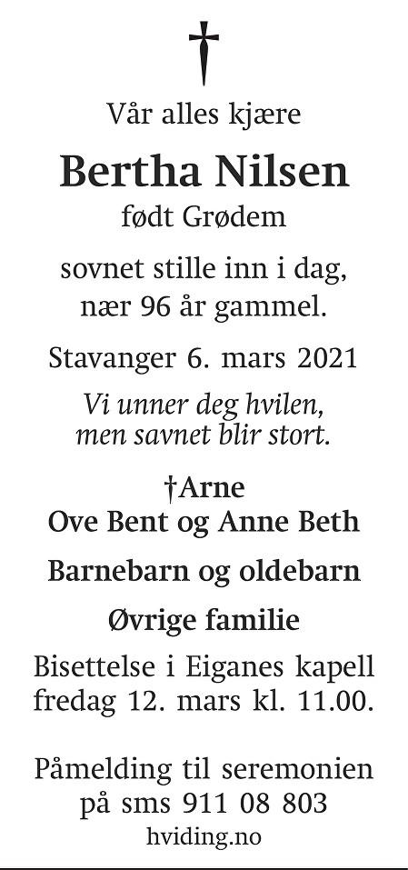 Bertha Nilsen Dødsannonse