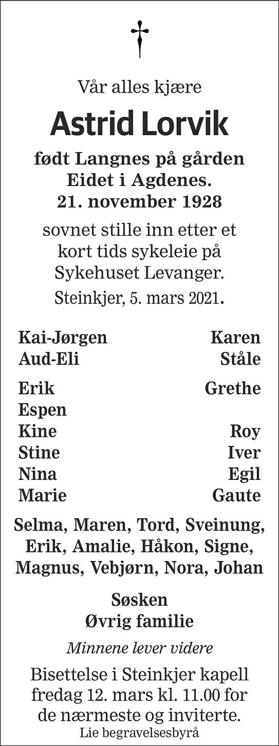 Astrid Lorvik Dødsannonse
