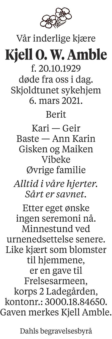 Kjell Ove Wåge Amble Dødsannonse