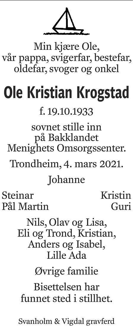 Ole Kristian Krogstad Dødsannonse
