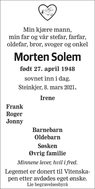Morten Solem Dødsannonse