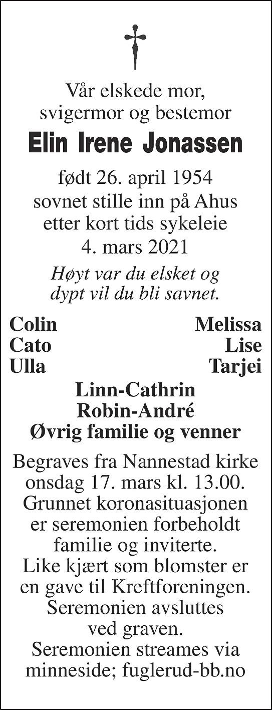 Elin Irene Jonassen Dødsannonse