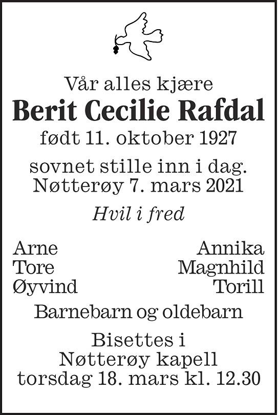 Berit Cecilie Rafdal Dødsannonse