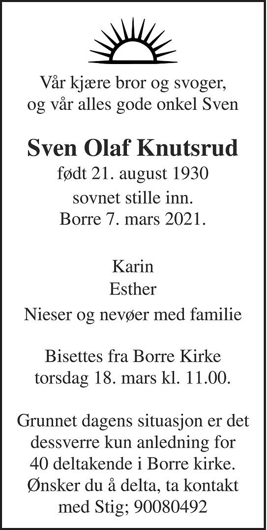 Sven Olaf Knutsrud Dødsannonse