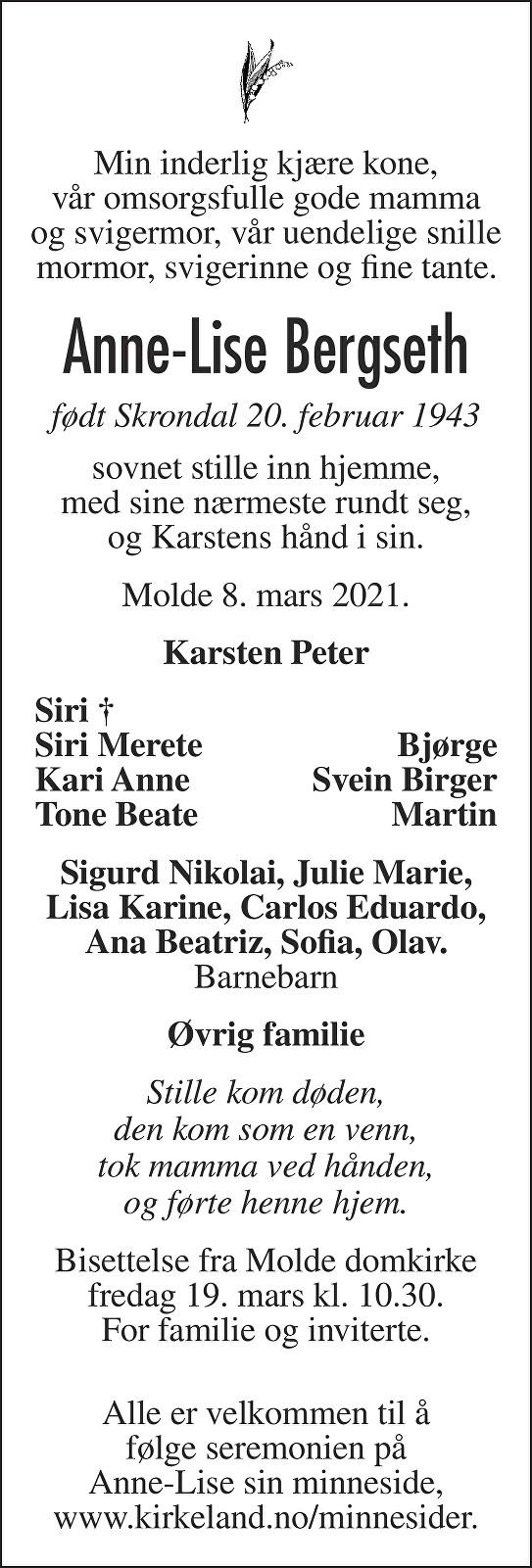 Anne-Lise Bergseth Dødsannonse