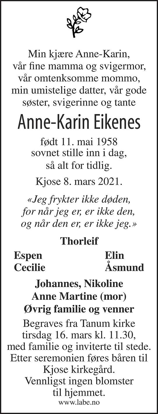 Anne-Karin Eikenes Dødsannonse