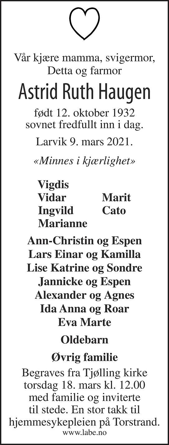 Astrid Ruth Haugen Dødsannonse