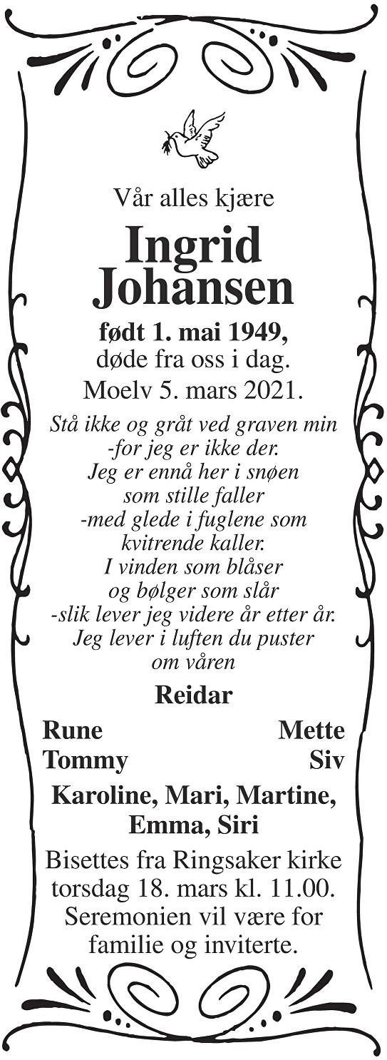 Ingrid Johansen Dødsannonse