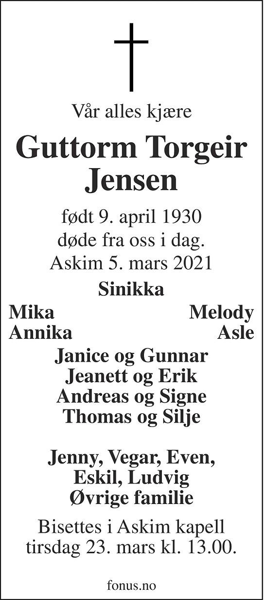 Guttorm Torgeir Jensen Dødsannonse
