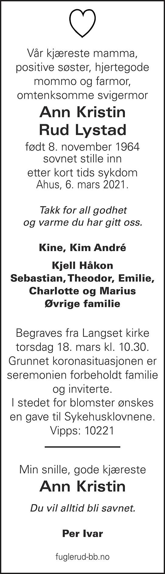 Ann Kristin Rud Lystad Dødsannonse