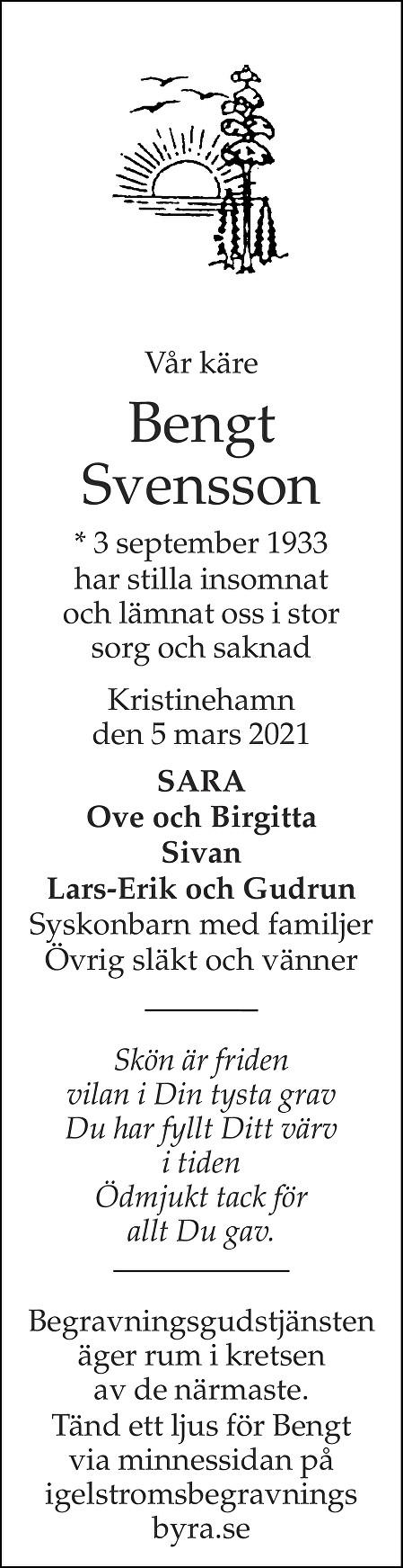 Bengt Svensson Death notice