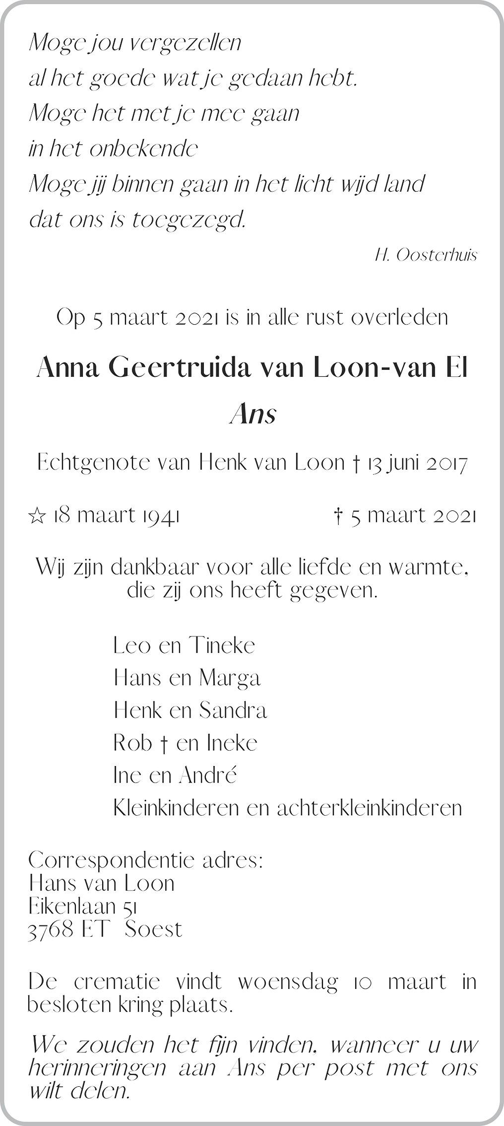Anna Geertruida Loon-van El Death notice
