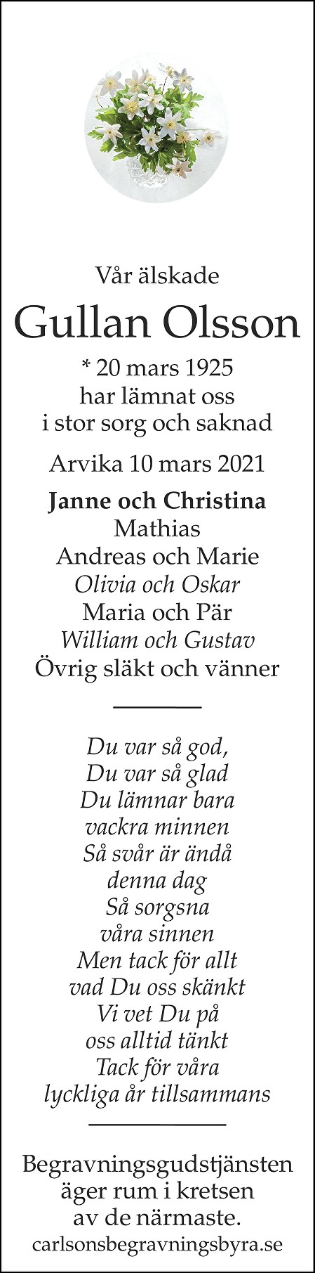 Gullan Olsson Death notice