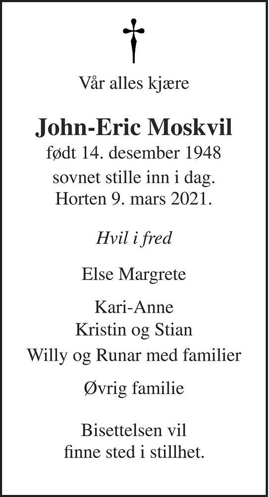 John-Eric Moskvil Dødsannonse