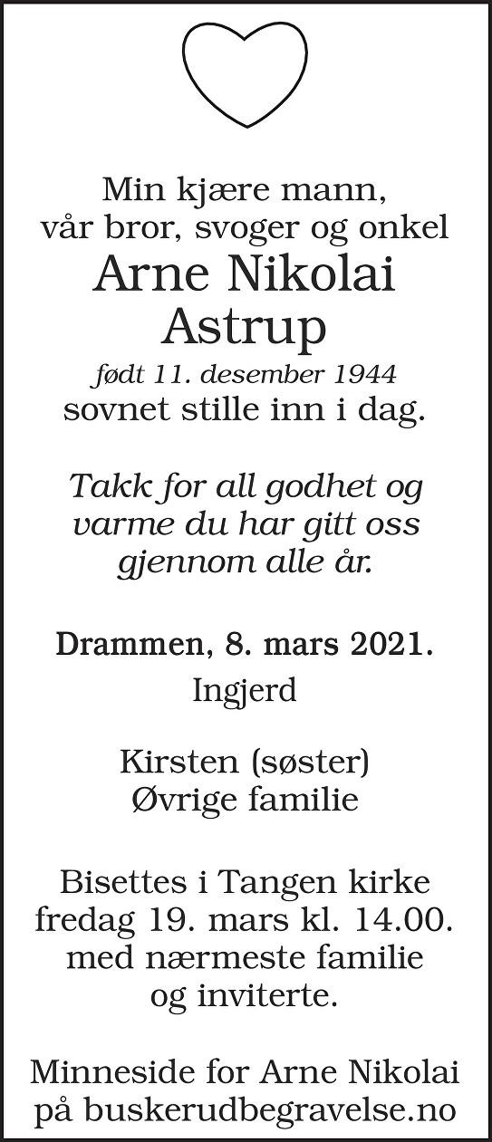 Arne Nikolai Astrup Dødsannonse