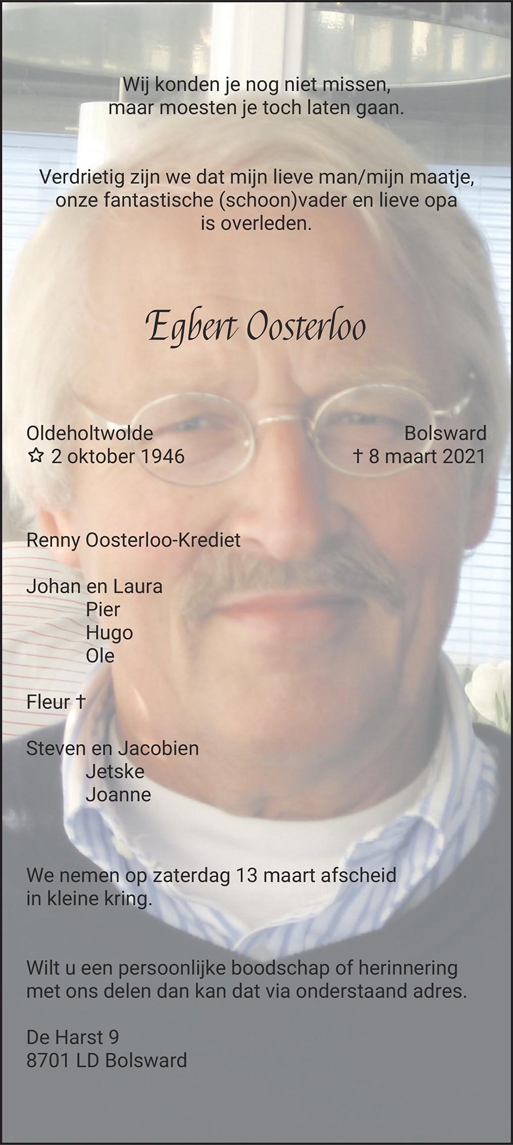 Egbert Johannes Oosterloo Death notice