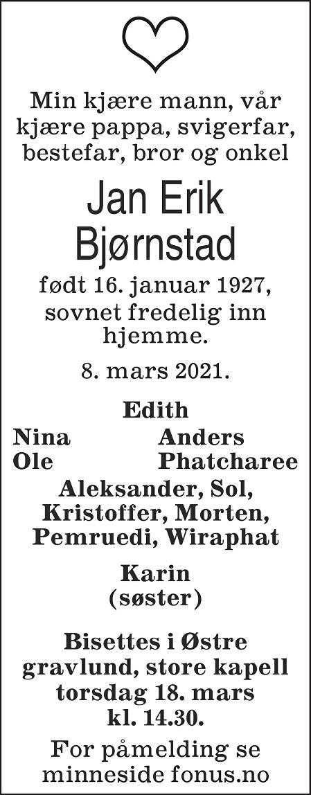 Jan Erik Bjørnstad Dødsannonse
