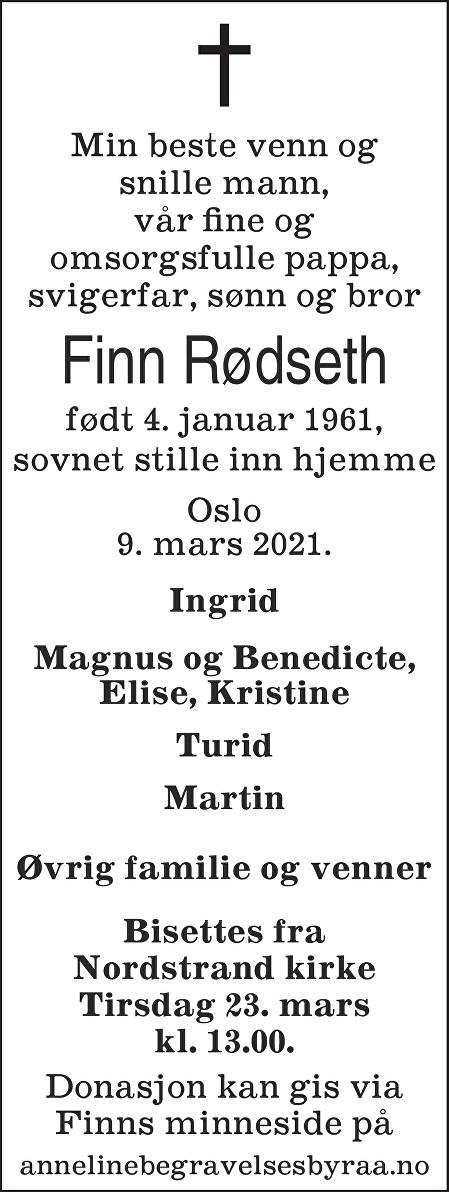 Finn  Rødseth Dødsannonse