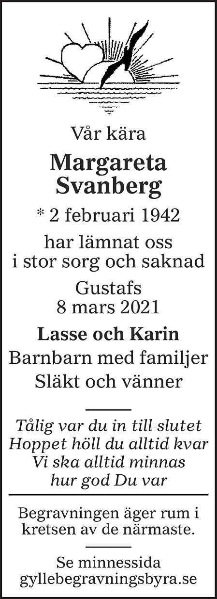 Margareta Svanberg Death notice