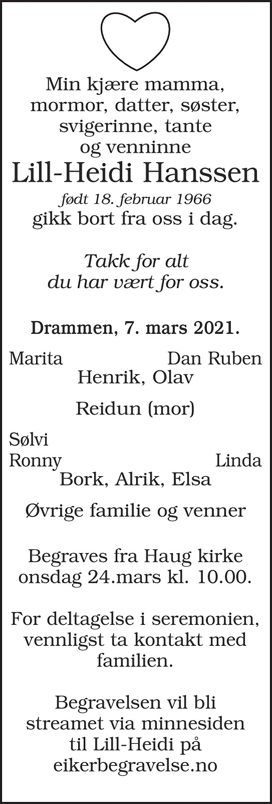 Lill-Heidi Hanssen Dødsannonse