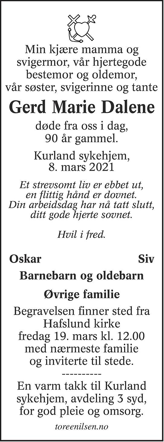 Gerd Marie Dalene Dødsannonse