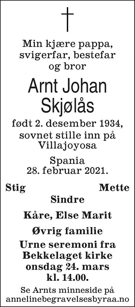 Arnt Johan Skjølås Dødsannonse