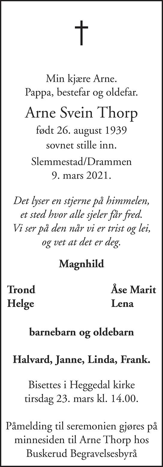 Arne Svein Thorp Dødsannonse