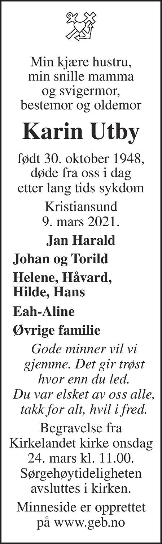 Karin Elisabeth Salbu Utby Dødsannonse