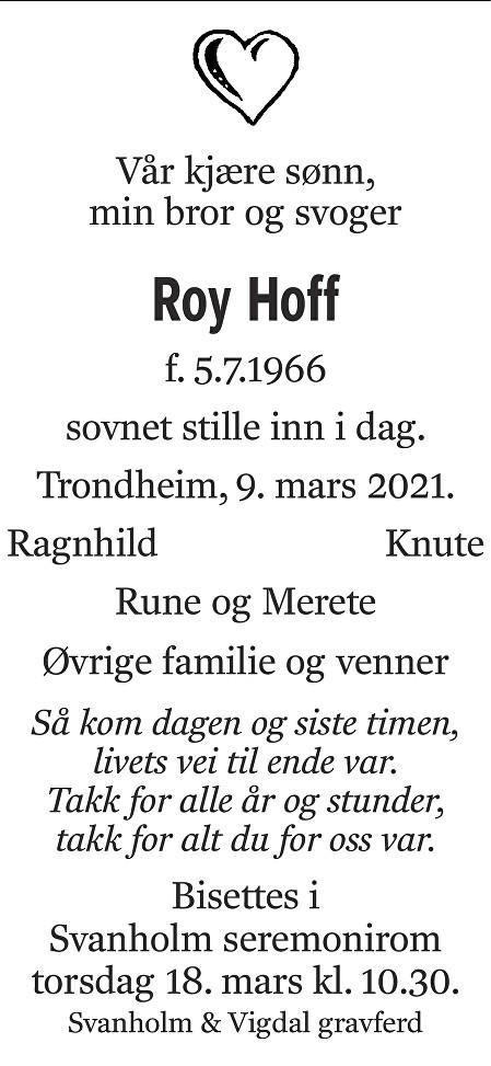 Roy Hoff Dødsannonse