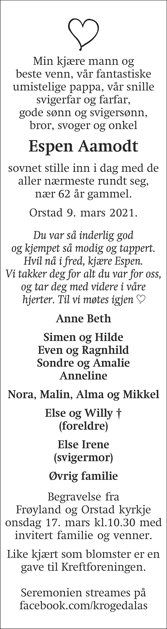 Espen  Aamodt Dødsannonse