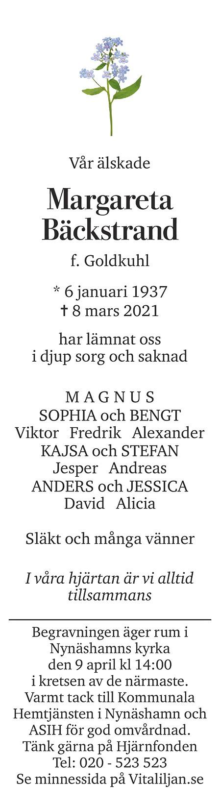 Margareta  Bäckstrand Death notice