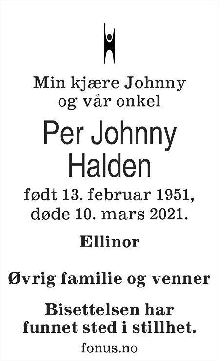 Per Johnny Halden Dødsannonse
