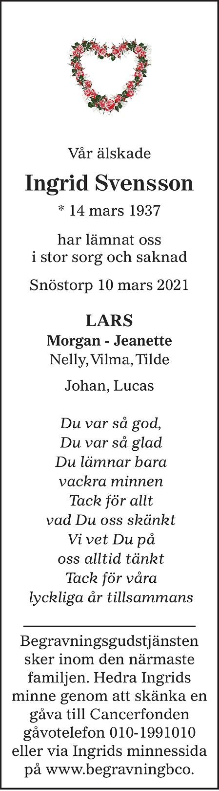 Ingrid Svensson Death notice