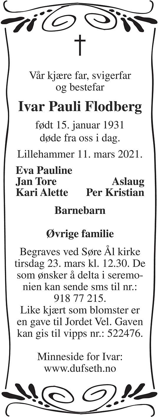Ivar Pauli Flodberg Dødsannonse