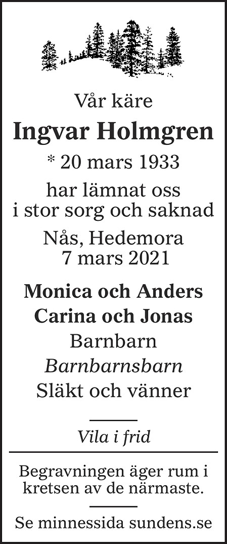 Ingvar Holmgren Death notice