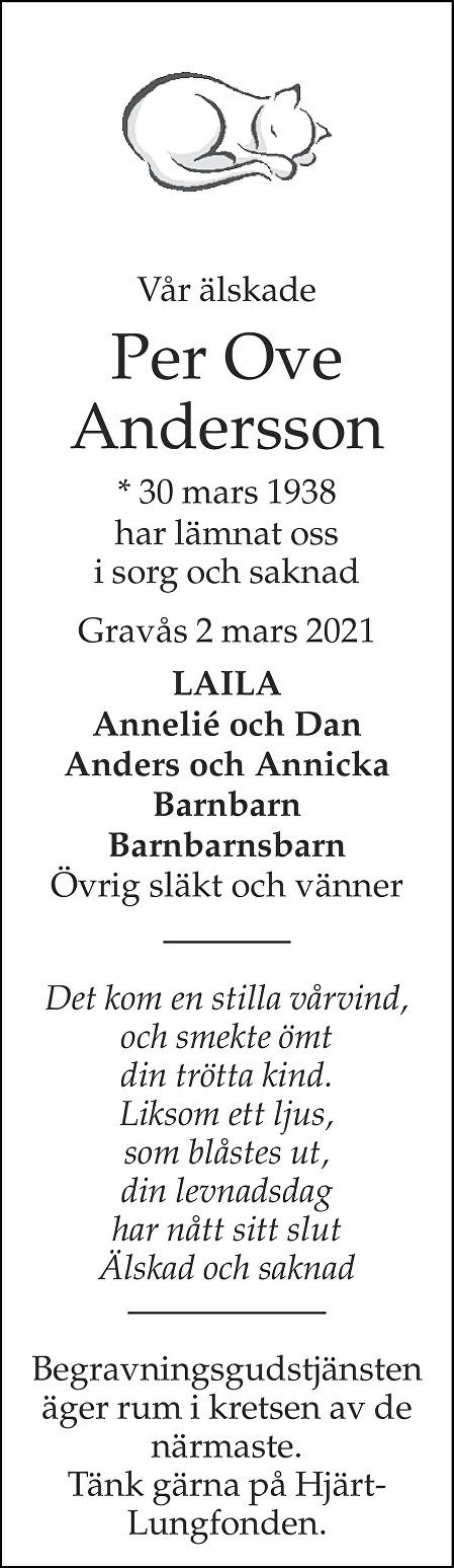 Per Ove Andersson Death notice