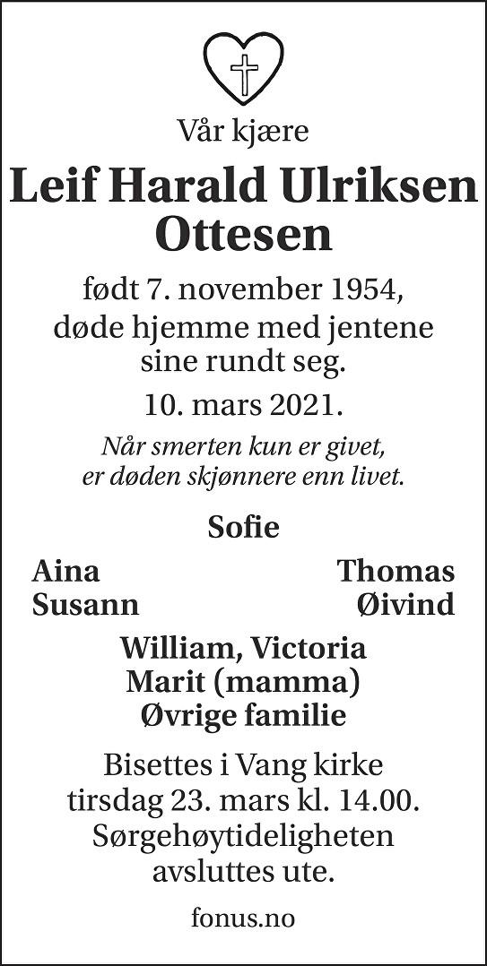 Leif Harald Ottesen Dødsannonse